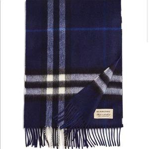 NWT Burberry Giant Check Blue Cashmere Scarf
